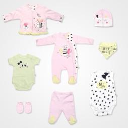 İmaj  Arılı Bebek Takımı 8'li - Açık Pembe  Bebek Giyim
