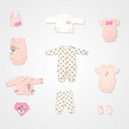 İmaj Bunny  Bebek Hastane Çıkış Seti 10'lu - Somon Rengi Bebek Giyim