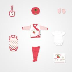 İmaj Çilek Desenli Bebek Hastan Çıkış Seti 10'lu - Kırmızı Bebek Giyim