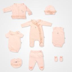 İmaj Kelebek Baskılı Bebek Takımı  8'li - Somon