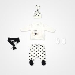 İmaj Pisi Bebek Takımı 5'li - Beyaz Bebek Giyim