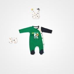 İmaj Safari Şapkalı Bebek Tulumu - Yeşil Bebek Giyim