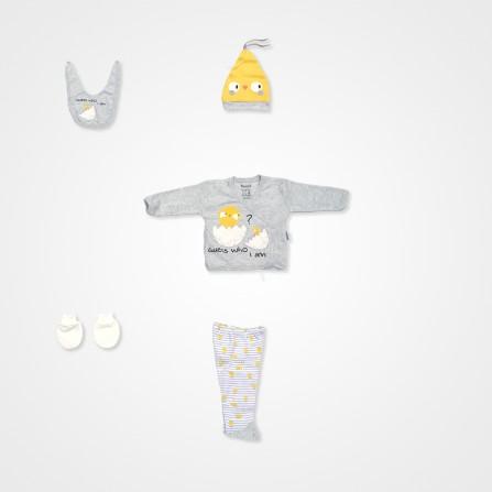 Mİniworld Civciv 5'li Bebek Takımı - Gri Bebek Giyim