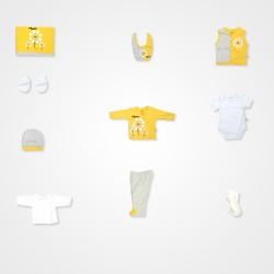 Mİniworld Papatya Bebek Hastane Çıkış Seti 10'lu - Sarı Bebek Giyim