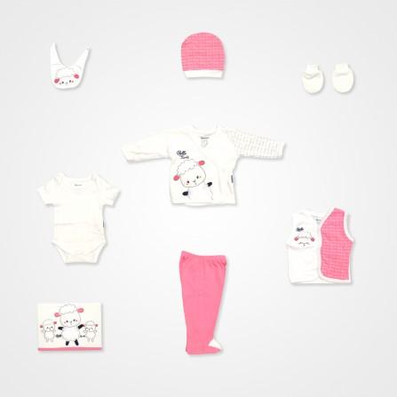 Miniworld Kuzu Baskılı 10'lu Bebek Hastane Çıkış Seti - Pembe Bebek Giyim