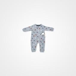 Divo Ayıcık Baskılı Bebek Tulumu Tek Parça - Gri