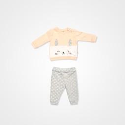 Divo Tavşanlı Bebek Takımı 2'li - Yavruağzı Bebek Giyim