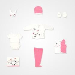 Miniworld Kuzu Baskılı 10'lu Hastane Çıkış Seti - Pembe Bebek Giyim