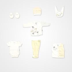 Miniworld Kuzu Baskılı 10'lu Hastane Çıkış Seti - Sarı Bebek Giyim