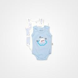 Pino Baby Hayvan Nakışlı Çıtçıtlı Bebek Zıbın Seti 3'lü - Mavi Bebek Giyim