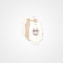 Pino Baby Tavşan Nakışlı Çıtçıtlı Bebek Zıbın Seti 3'lü - Krem Bebek Body & Zıbın