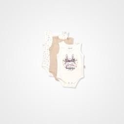 Pino Baby Tavşan Nakışlı Çıtçıtlı Bebek Zıbın Seti 3'lü - Krem