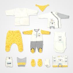 İmaj Ayıcık Badili Tulumlu Hastane Çıkış Seti 10 ' lu - Sarı Bebek Giyim