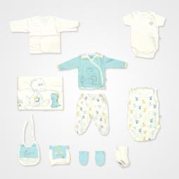 İmaj Yavru Dino Nakışlı Badili Tulumlu Hastane Çıkış Seti 10'lu - Mavi Bebek Giyim