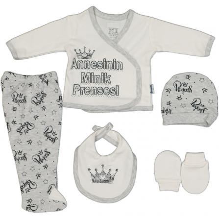 Miniworld Annesinin Minik Prensesi Hastane Çıkış Seti 5'li - Beyaz Bebek Giyim
