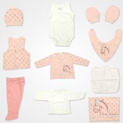 Bebbek Baby Unicorn Hastane Çıkış Seti 10'lu - Pembe Bebek Giyim
