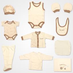Bebbek Çiftçi Traktör Nakışlı Organik Hastane Çıkış Seti 10'lu - Kahverengi Bebek Giyim