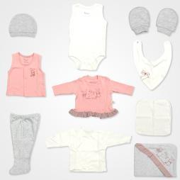 Bebbek Güneş Işığı Tavşan Nakışlı Organik Hastane Çıkış Seti 10'lu - Pembe Bebek Giyim