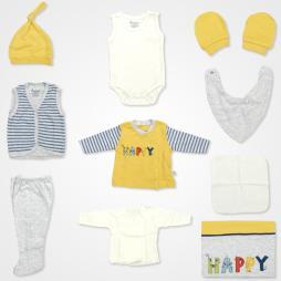 Bebbek Happy Hastane Çıkış Seti 10'lu - Sarı Bebek Giyim