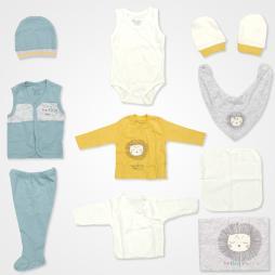 Bebbek The King Friends Hastane Çıkış Seti 10'lu - Sarı Mavi Bebek Giyim