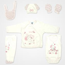 Hoppidik Kalpli Fil Nakışlı Hastane Çıkış Seti 6'lı - Pembe Bebek Giyim