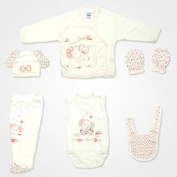 Hoppidik Kalpli Fil Nakışlı Hastane Çıkış Seti 6'lı - Pudra Rengi Bebek Giyim