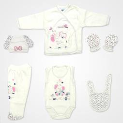 Hoppidik Kalpli Fil Nakışlı Hastane Çıkış Seti 6'lı - Şeker Pembe Bebek Giyim