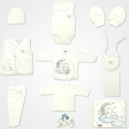 Hoppidik Simli Ay Yıldız Hastane Çıkış Seti 11'li - Açık Mavi Bebek Giyim