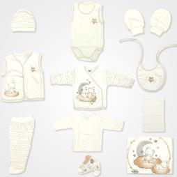 Hoppidik Simli Ay Yıldız Hastane Çıkış Seti 11'li - Kahverengi Bebek Giyim