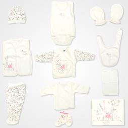 Hoppidik Tavşan Nakışlı Hastane Çıkış Seti 11'li - Pembe Bebek Giyim