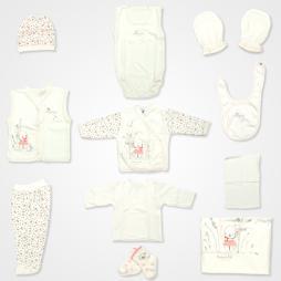Hoppidik Tavşan Nakışlı Hastane Çıkış Seti 11'li - Pudra Bebek Giyim