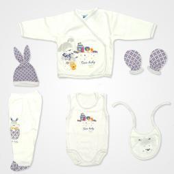 Hoppidik Tavşanlı Hastane Çıkış Seti 6'lı - Lacivert Bebek Giyim