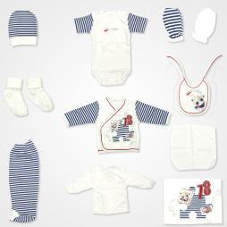 Leylek Bear Happy Puzzle Hastane Çıkış Seti 10'lu - Mavi Bebek Giyim