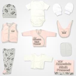 Miniworld Annesinin Minik Prensesi Hastane Çıkış Seti 10'lu - Pudra Bebek Giyim