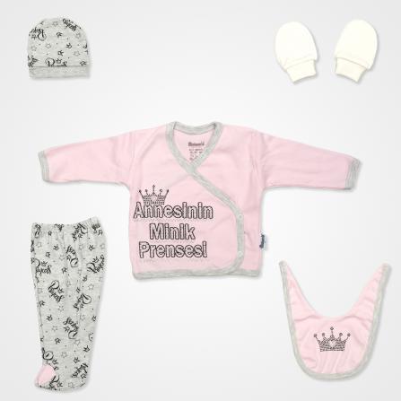 Miniworld Annesinin Minik Prensesi Hastane Çıkış Seti 5'li - Pembe Bebek Giyim