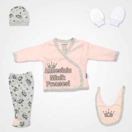 Miniworld Annesinin Minik Prensesi Hastane Çıkış Seti 5'li - Pudra Rengi Bebek Giyim