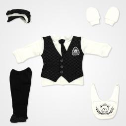 Miniworld Baklava Desenli Kravatlı Yelekli Hastane Çıkış Seti 5'li - Siyah