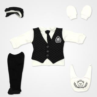Miniworld Baklava Desenli Kravatlı Yelekli Hastane Çıkış Seti 5'li - Siyah Bebek Giyim