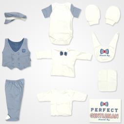 Miniworld Boys Perfect Gentleman Hastane Çıkış Seti 10'lu - İndigo Bebek Giyim