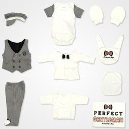 Miniworld Boys Perfect Gentleman Hastane Çıkış Seti 10'lu - Siyah Bebek Giyim