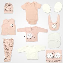 Miniworld Bulut Kabartmalı Hastane Çıkış Seti 10'lu - Somon Rengi Bebek Giyim