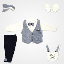 Miniworld Erkek Papyonlu Mendilli Hastane Çıkış Seti 6'lı - Lacivert Bebek Giyim
