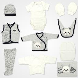 Miniworld Hop Kabartmalı Ayıcıklı Hastane Çıkış Seti 10'lu - Gri Bebek Giyim