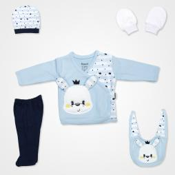 Miniworld Mobil Kulaklı Tavşan Hastane Çıkış Seti 5'li - Mavi Bebek Giyim