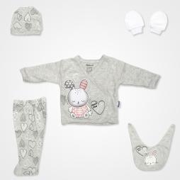 Miniworld Much Love Tavşan Kabartmalı Hastane Çıkış Seti 5'li - Kar Melanj Bebek Giyim