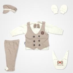 Miniworld Perfect Gentleman Hastane Çıkış Seti 6'lı - Kahverengi Bebek Giyim