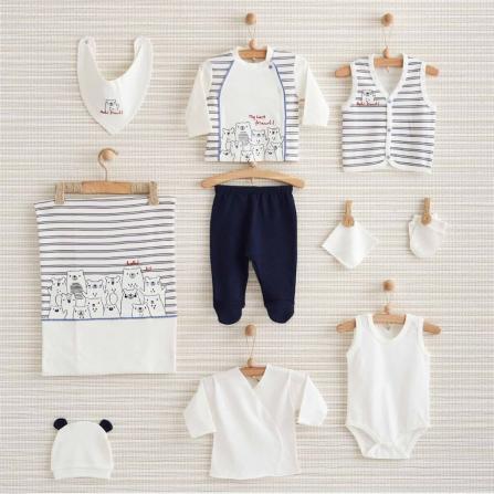 Bebbek Mutlu Ayılar 10'lu Set - Mavi Bebek Giyim