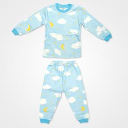 My Jully Ay Yıldız Bulut Baskılı Bebek Pijama Takımı - Mavi Bebek Giyim