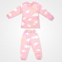 My Jully Ay Yıldız Bulut Baskılı Bebek Pijama Takımı - Pembe Bebek Giyim