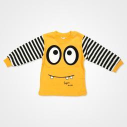 Süpermini Çizgili Gözlü Bebek Pijama Takımı - Turuncu Bebek Giyim